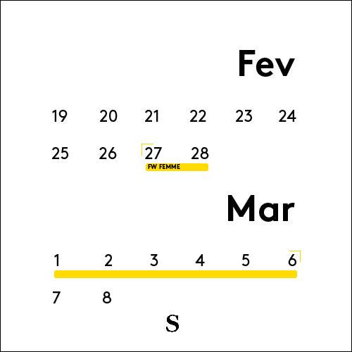 Calendrier du mois de Janvier de la Fashion Week
