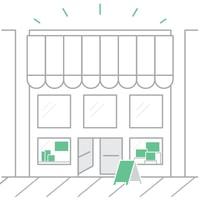 Logo d'une devanture d'espace par Storefront